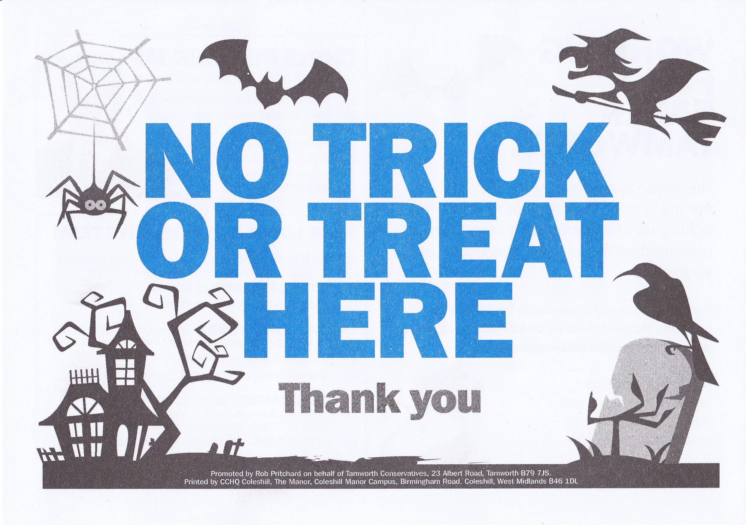 photo relating to Trick or Treat Signs Printable identified as No Trick or Take care of Leaflets