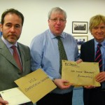 Christopher Pincher and Michael Fabricant hand the Secretary of State for Transport letters calling for better compensation for properties affected by HS2
