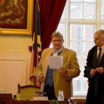 Cllr Richard Kingstone reading the oath for the office for Deputy Mayor of Tamworth
