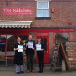 Chris Pincher MP with Jenny Humphries and Kate Casey of The Kitchen café in Marmion Street Tamworth