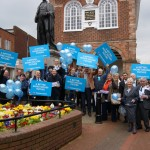 the team launch the 2015 Election campaign in front of Sir Robert Peel
