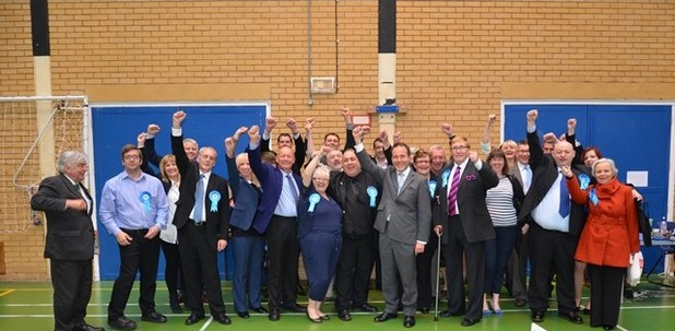 Tamworth's Conservatives celebrate victory in the Borough Council election